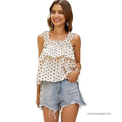 Floerns Women's Summer Polka Dot Frill Trim Sleeveless Vest Top