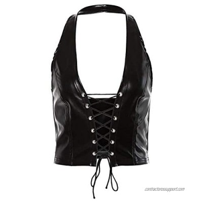 Mllkcao Women Sexy Leather Lingerie Strapped Casual Off Shoulder Slash Neck Halter Vest Blouses for Women S-L