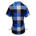 Plaid Tops for Women Casual T-Shirt Printed Blouse Short Sleeve V-Neck Irregular Hem