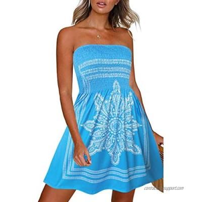 CHICGAL Summer Dresses for Women Beach Cover Ups Strapless Boho Floral Print Sundress