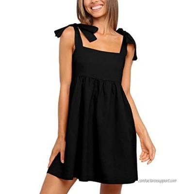 Clarisbelle Women Summer Tie Strap Sleeveless Beach Dress with Pockets