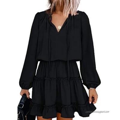 Dokotoo Womens Split V Neck Ruffle Chiffon Elegant Mini Short Skirt Dresses
