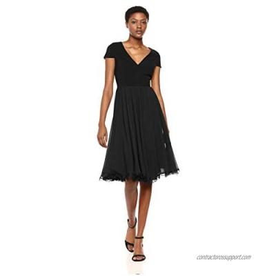 Dress the Population Women's Corey Plunging Mix Media Cap Sleeve A-line Midi Dress