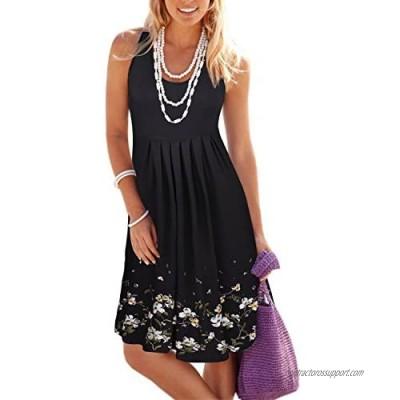 KILIG Women Summer Casual Loose Floral Print Pleated Sleeveless Midi Vest Sun Dresses for Beach Wedding Party