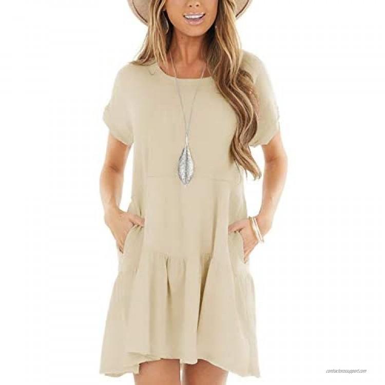 Minclouse Women's Short Sleeve Flowy Swing T Shirt Dress Baby Doll Cute Casual Pockets Dresses