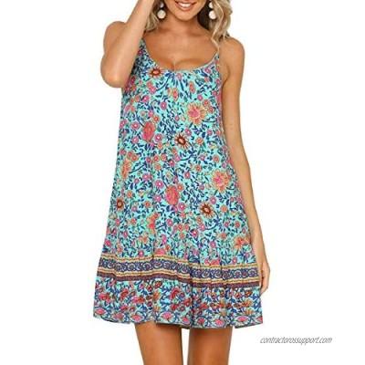 SHIBEVER Women's Dresses Bohemian Floral Printed Spaghetti Strap Sun Dress Summer Beach Swing Mini Dress S-2XL